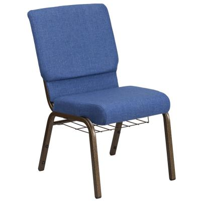Blue Fabric/Gold Vein Frame Stack Chair