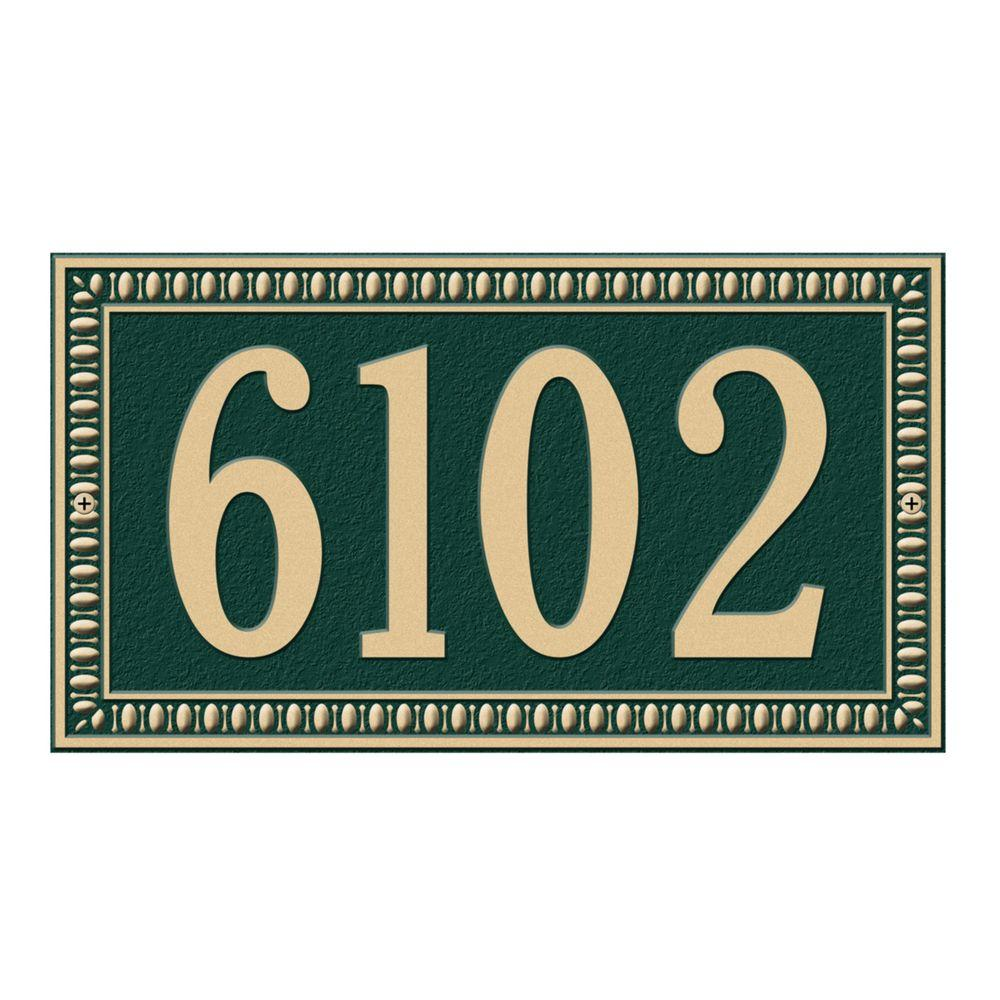 Egg and Dart Rectangular Green/Gold Standard Wall One Line Address Plaque
