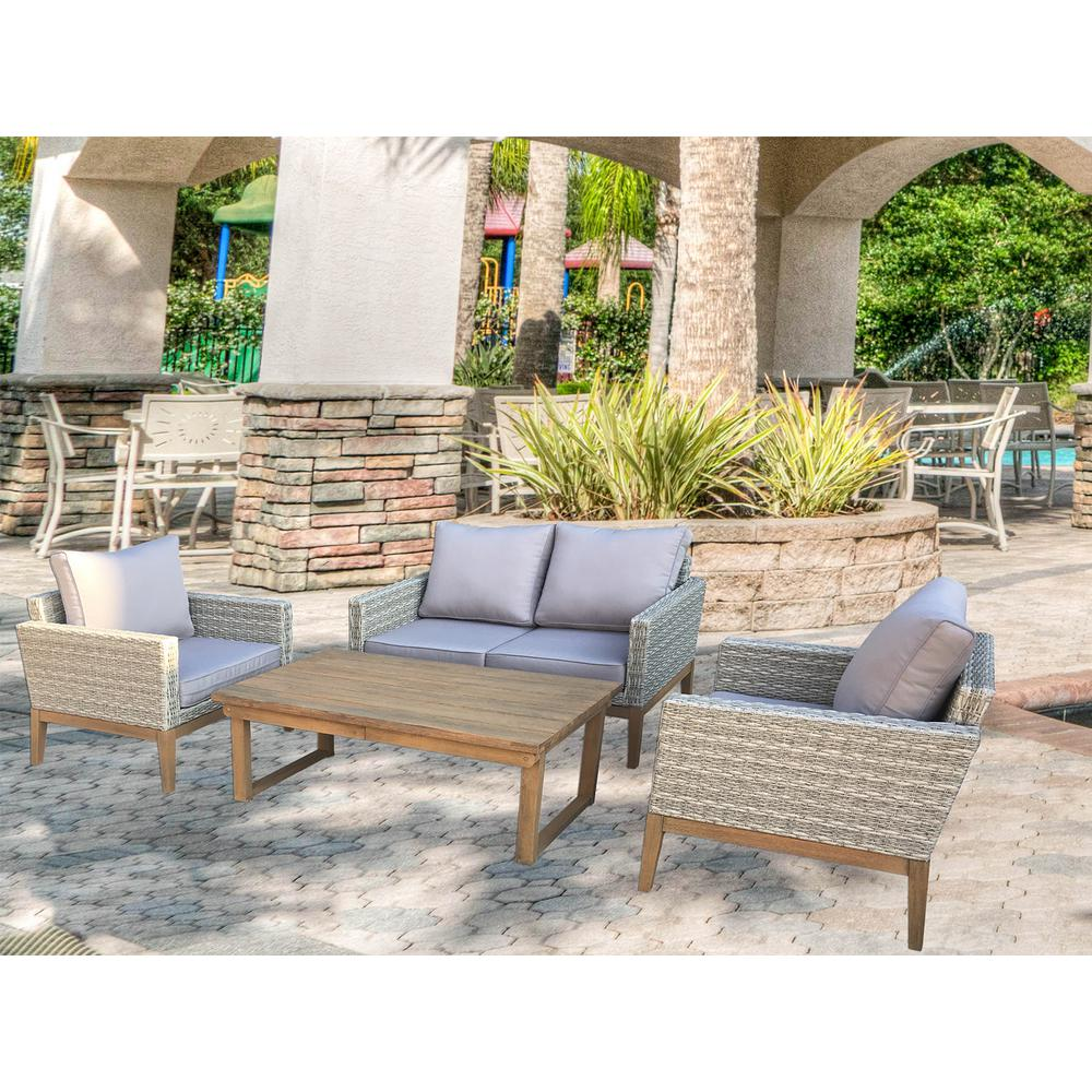 Portofino 4 Piece Wicker Patio Conversation Set With Multi Function Table And Light Grey Cushions