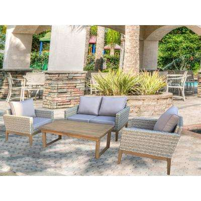Portofino 4-Piece Wicker Patio Conversation Set with Multi-Function Table and Light Grey Cushions