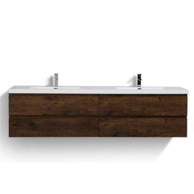 MOB 84 in. W Vanity in Rich Rosewood with Reinforced Acrylic Vanity Top in White with White Basins