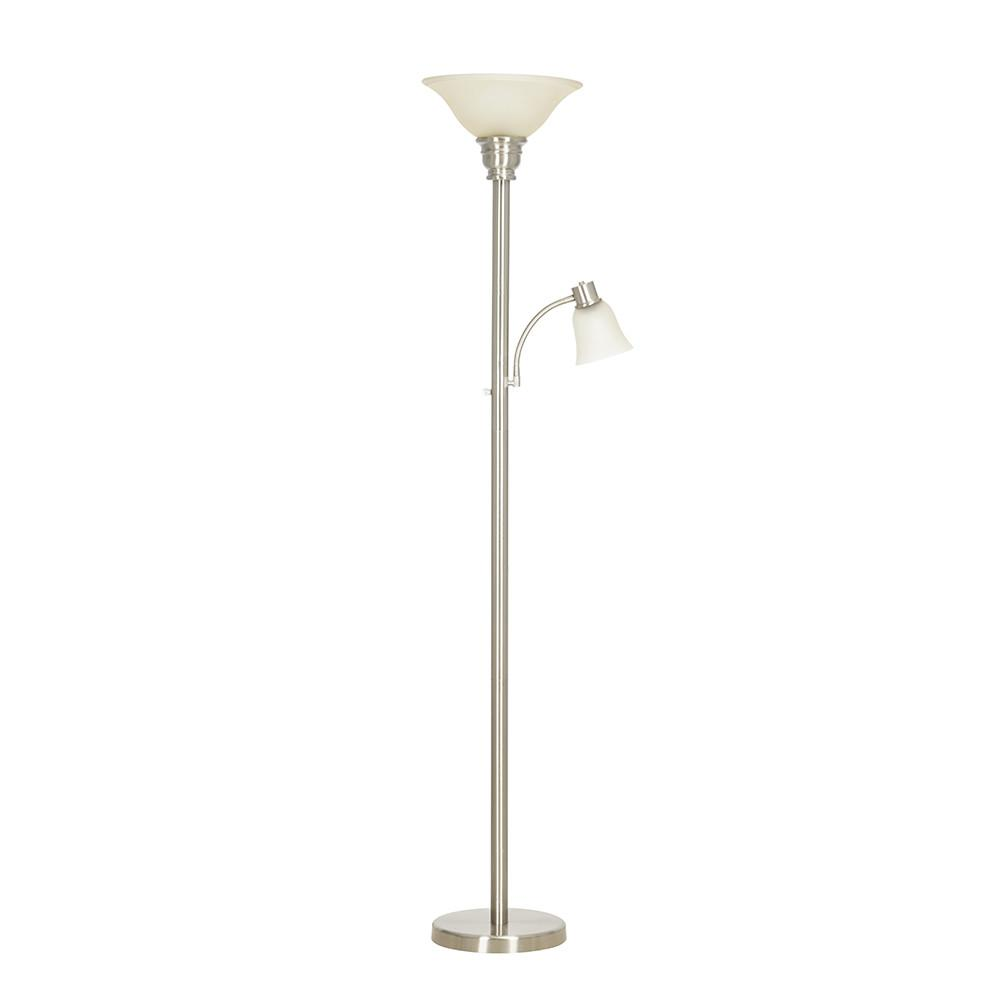 Cresswell 71 In Brushed Nickel Floor Lamp With Reading