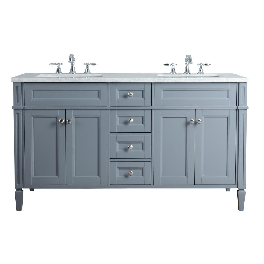 Stufurhome anastasia french 60 in grey double sink bathroom vanity with marble vanity top and for Gray bathroom vanity with top
