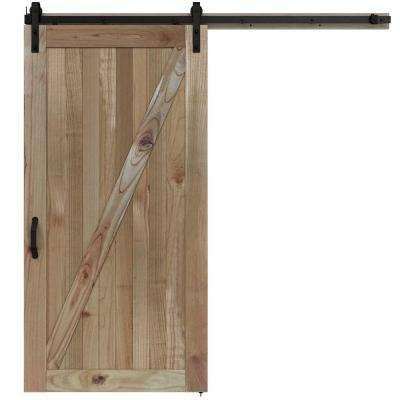 42 in. x 84 in. Rustic Unfinished Wood Barn Door with Sliding Door Hardware Kit
