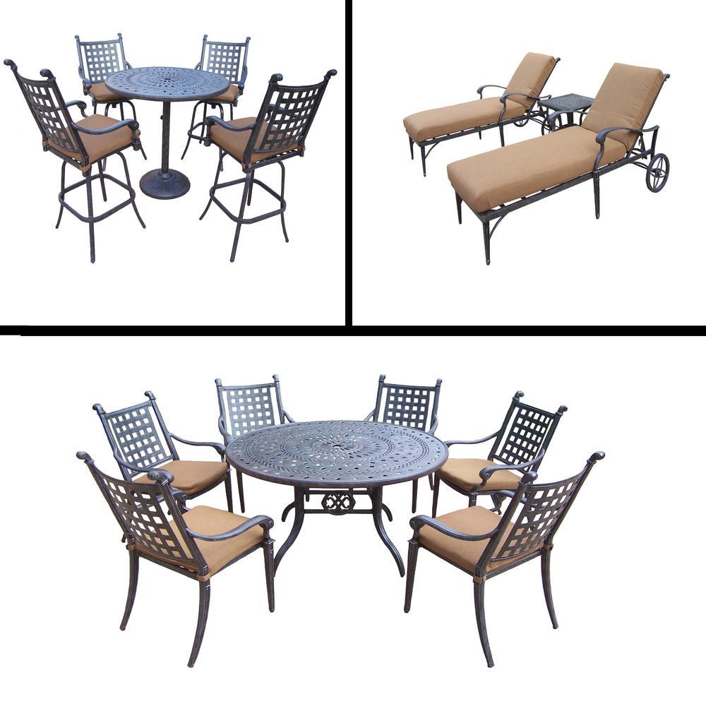 Belmont Premier 15-Piece Aluminum Outdoor Dining Set with Sunbrella Brown Cushions