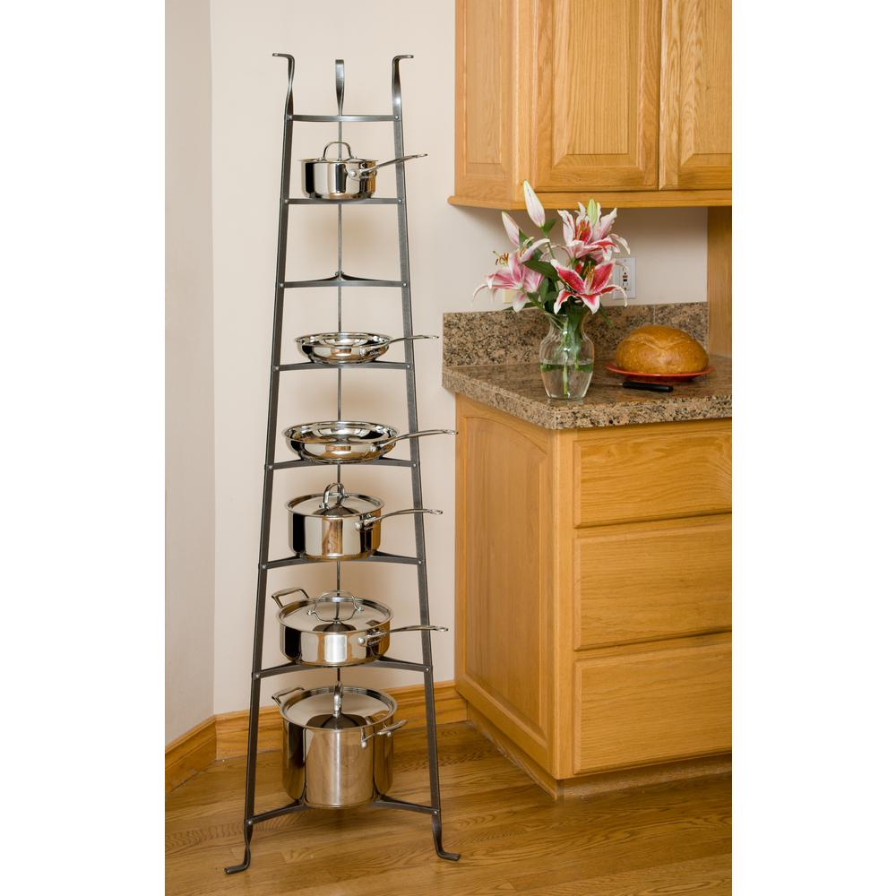 8-Tier Cookware Stand Free Standing Pot Rack in Hammered Steel (Unassembled)