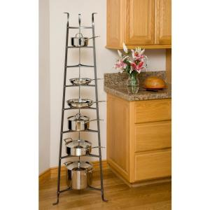 Enclume 8-Tier Cookware Stand Free Standing Pot Rack in Hammered Steel (Unassembled) by Enclume