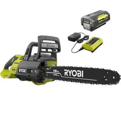 16 in. 40-Volt Brushless Lithium-Ion Cordless Chainsaw, 4 Ah Battery and Charger Included