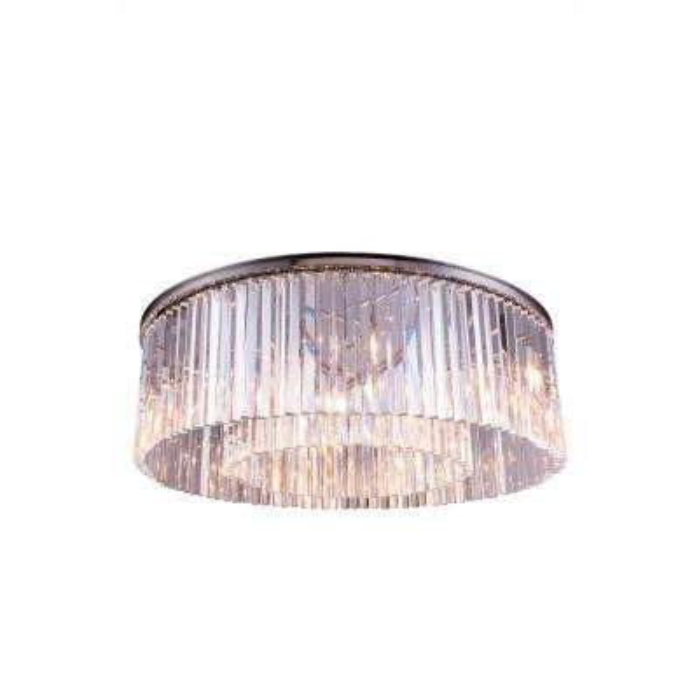 Sydney 10-Light Polished Nickel Flush Mount with Clear Crystal