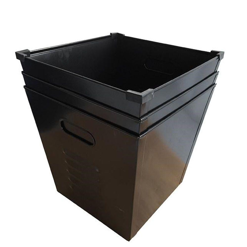 Home Decorators Collection Lachlan 3 Gal. Metal Storage Bin In Black (Set  Of 3
