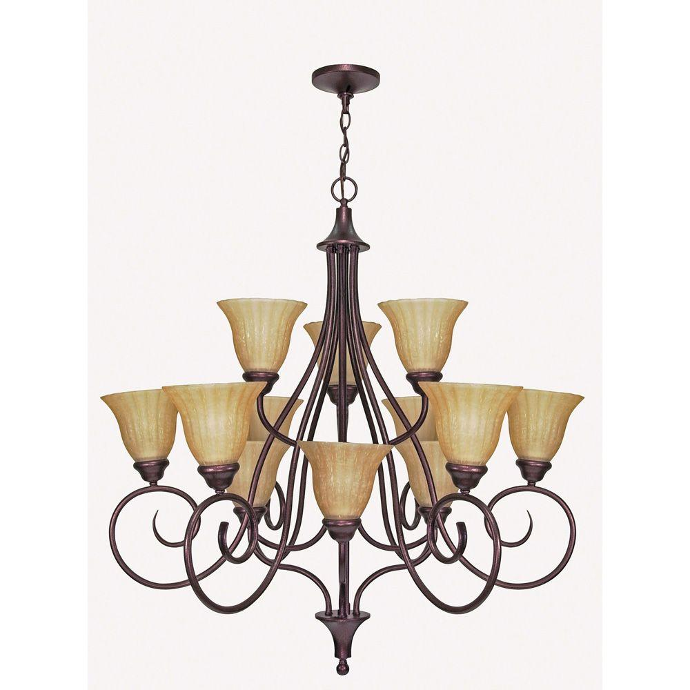 Glomar Moulan 12-Light Chandelier 3 Tier with Champagne Linen Washed Glass Finished in Copper Bronze-DISCONTINUED