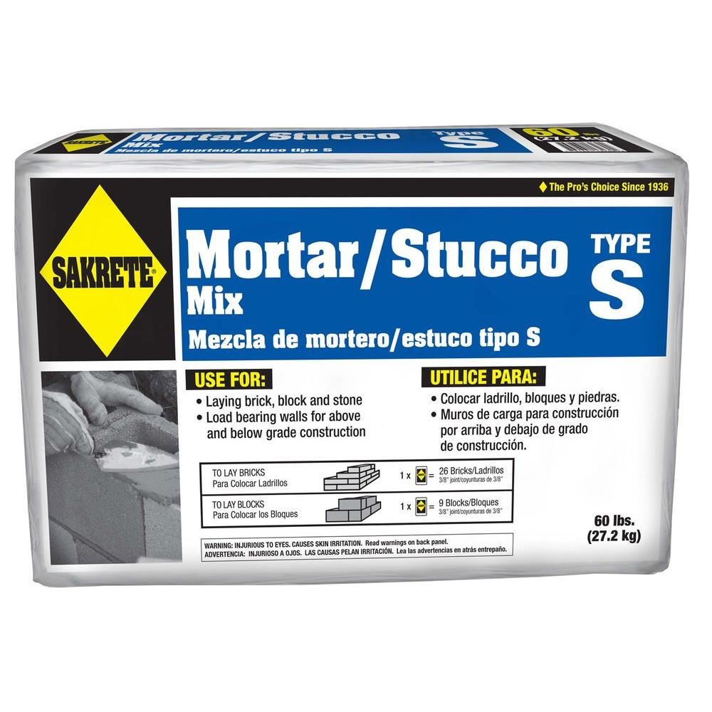 SAKRETE 60 lb  Type S Mortar Mix-65300024 - The Home Depot