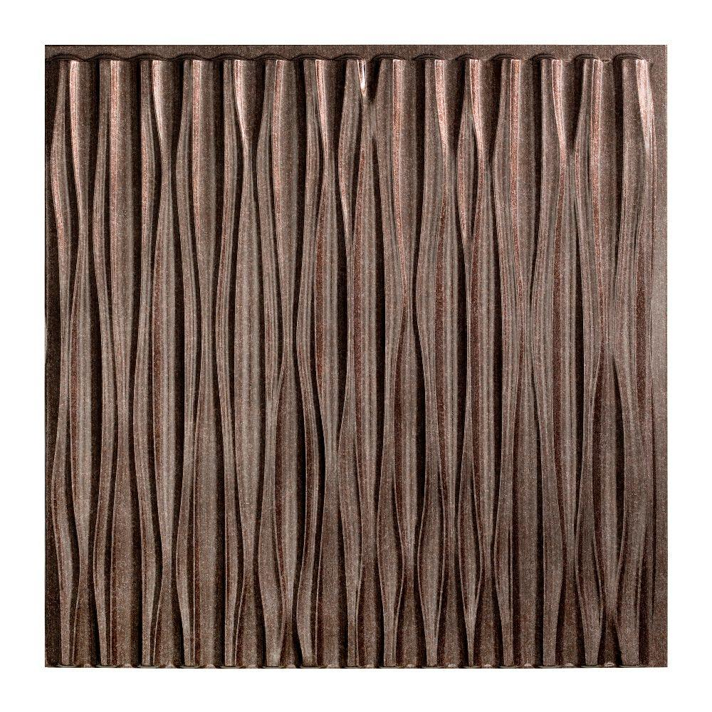 Fasade Dunes Vertical - 2 ft. x 2 ft. Glue-up Ceiling Tile in Smoked Pewter