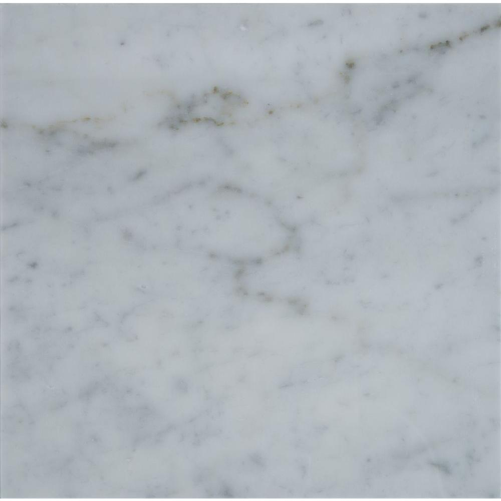 Granite tile natural stone tile the home depot carrara white 18 in x 18 in polished marble floor and dailygadgetfo Gallery