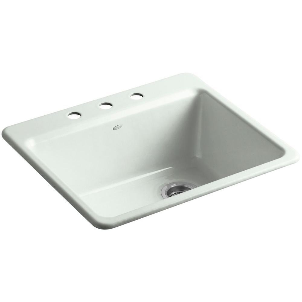 KOHLER Riverby Drop-In Cast-Iron 25 in. 3-Hole Single Bowl Kitchen Sink Kit with Bowl Rack in Sea Salt