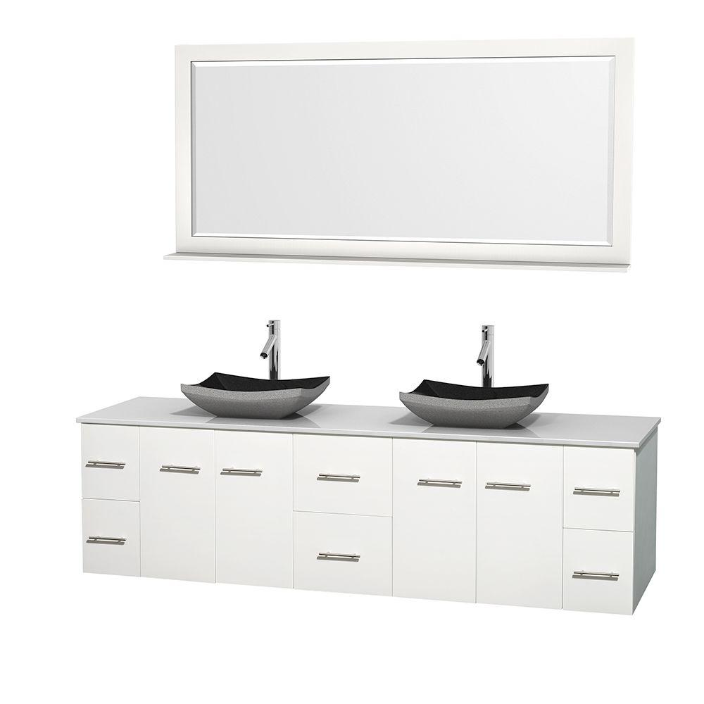 Wyndham Collection Centra 80 in. Double Vanity in White with Solid-Surface Vanity Top in White, Black Granite Sinks and 70 in. Mirror