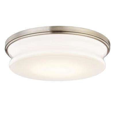 Drift 75-Watt Equivalence Satin Nickel Integrated LED Flushmount with Glass Shade