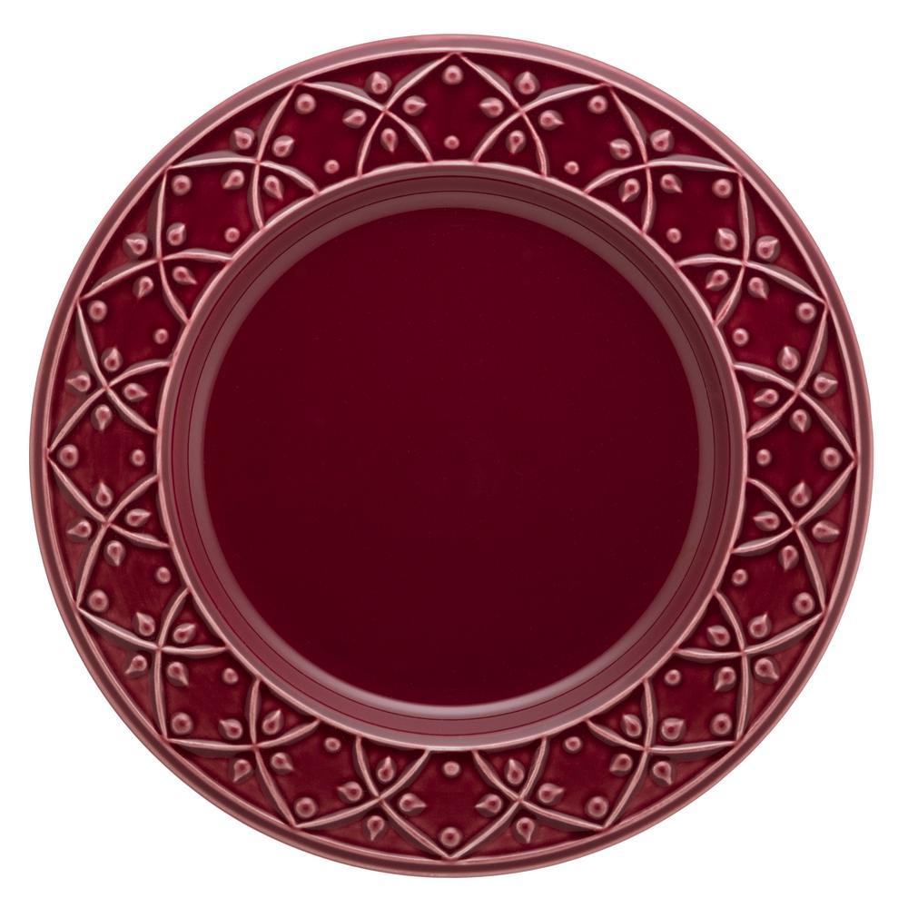 10.43 in. Mendi Maroon Red Dinner Plates (Set of 6)