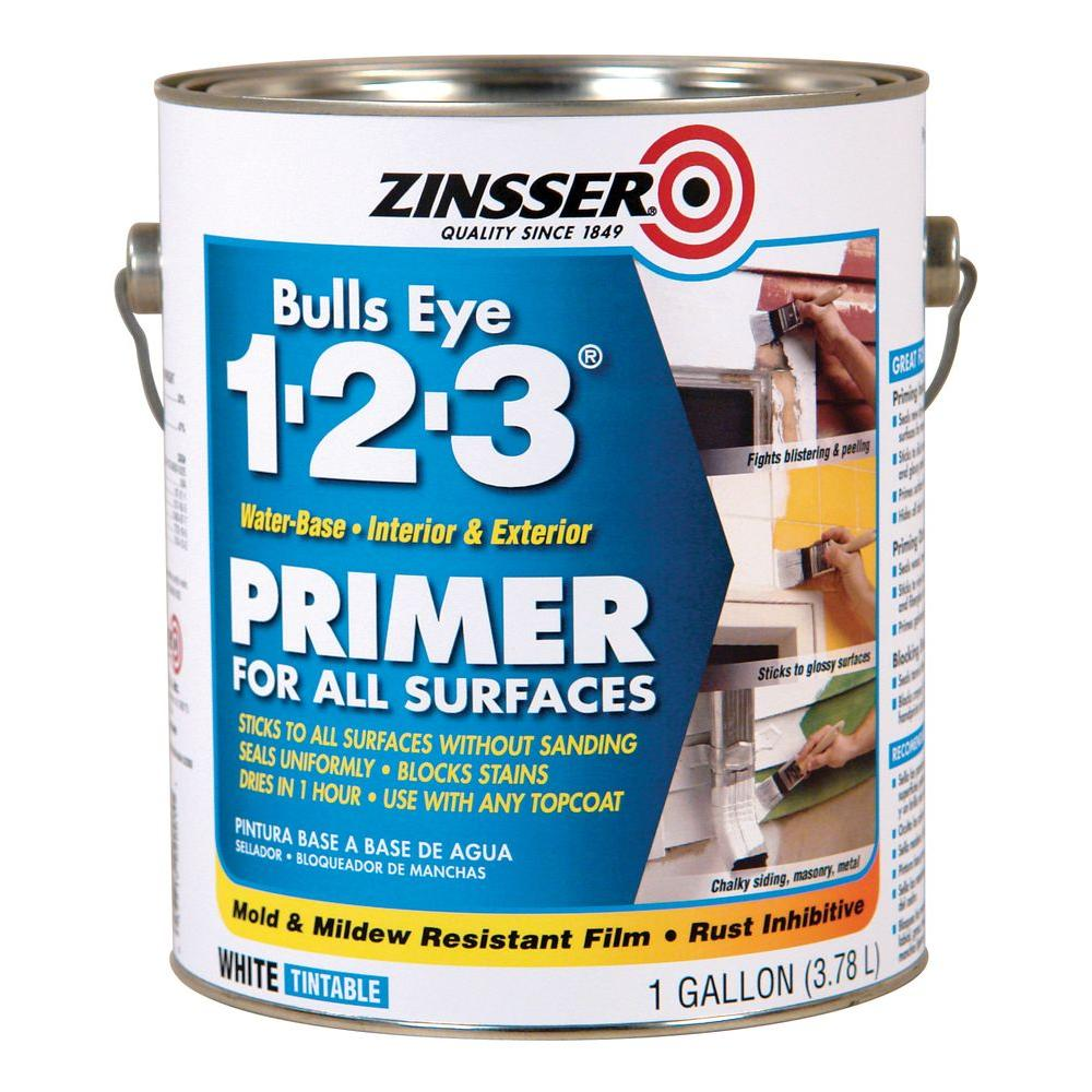 White Water-Based Interior/Exterior Primer and Sealer-259115 - The Home Depot  sc 1 st  Home Depot & Zinsser Bulls Eye 1-2-3 2 gal. White Water-Based Interior/Exterior ...