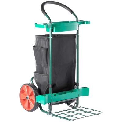 Green Plastic Cleaning Outdoor Easy to Carry Garden Tool Cart Reusable Leaf Trash Bag