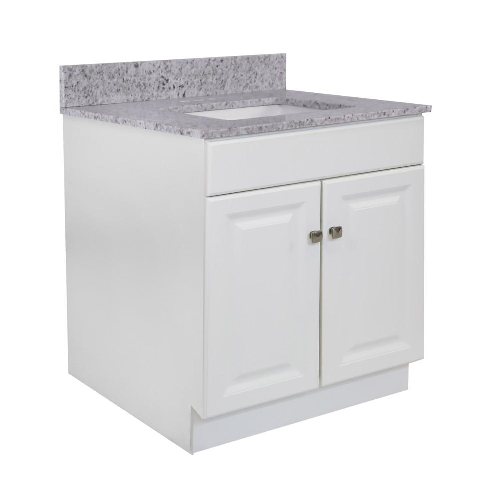Design House Wyndham RTA 31 in. W x 22 in. D 35.5 in. H Bath Vanity in White with Kashmir Granite Vanity Top and White Basin