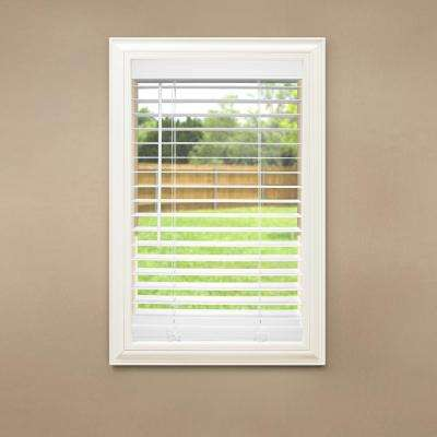 Cut-to-Size White Cordless Room Darkening Faux Wood Blinds with 2 in. Slats 51.25 in. W x 84 in. L