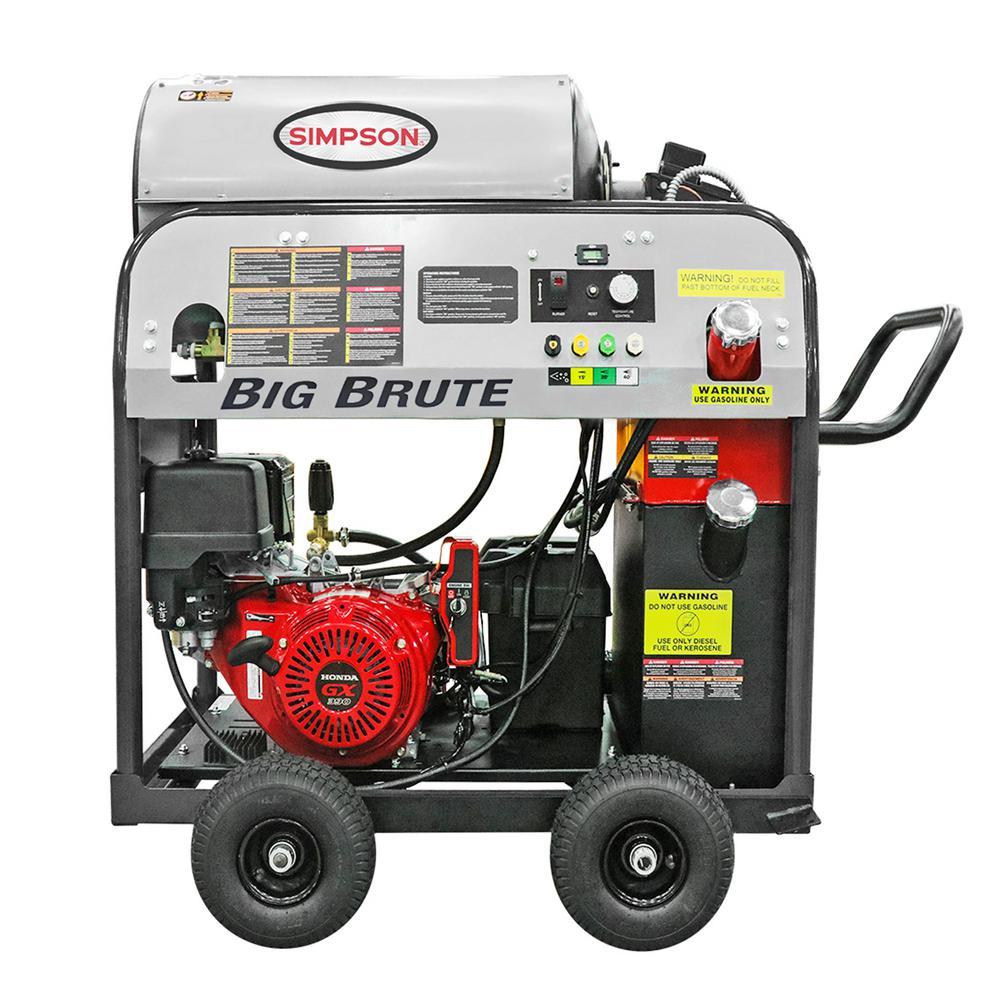 Big Brute 4000 PSI at 4.0 GPM Hot Water HONDA GX390 Gas Pressure Washer with COMET Triplex Plunger Pump Professional