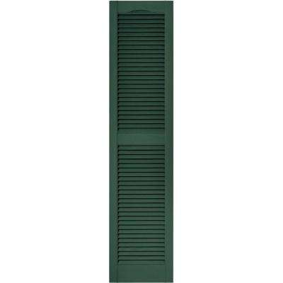 15 in. x 64 in. Louvered Vinyl Exterior Shutters Pair in #028 Forest Green