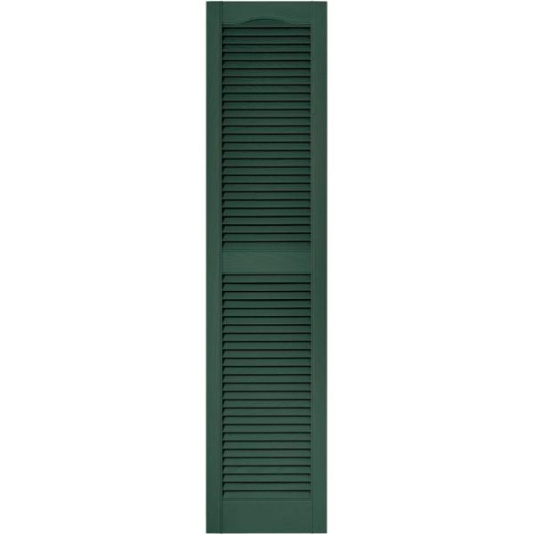 Builders Edge 15 In X 64 In Louvered Vinyl Exterior Shutters Pair In 028 Forest Green 010140064028 The Home Depot