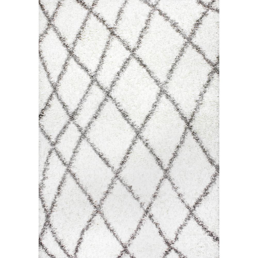 nuLOOM Alvera Plush Shag White 3 x 5 Area Rug
