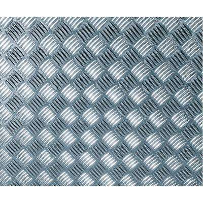 26 in. x 59 in. Chequer-plate Silver Self-adhesive Vinyl Film for Furniture and Door Renovation/Decoration