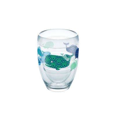 Whale Pattern 9 oz. Double-Walled Tritan Stemless Wine Glass