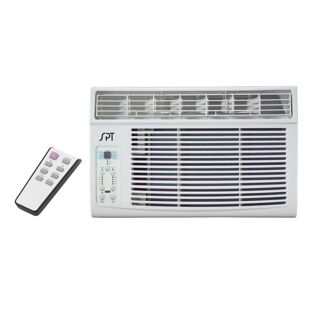 SPT 8,000 BTU 115V Window Air Conditioner with Remote Control Perfect for cooling down a single room or studio. Window kit supplied for left and right side of unit - ideal for vertical opening windows. User-friendly controls and remote. Easy to remove washable air filter with helpful reminder.