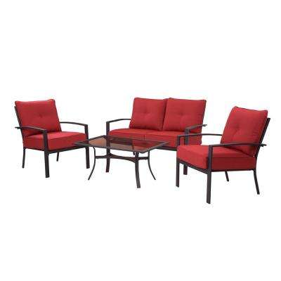 Briarwood 4-Piece Metal Patio Sectional Seating Set with Red Cushions