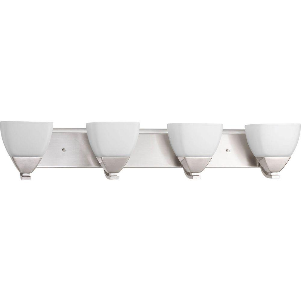 Appeal Collection 4-Light Brushed Nickel Vanity Light with Etched White Glass