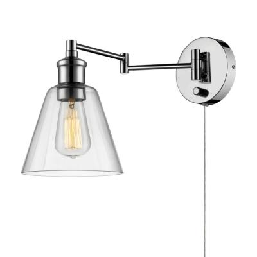 LeClair 1-Light Chrome Swing Arm Wall Sconce