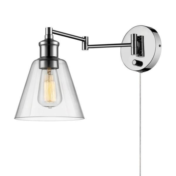 Globe Electric Leclair 1 Light Chrome Swing Arm Wall Sconce 65704 The Home Depot