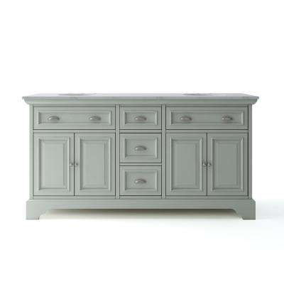 Sadie 67 in. W x 21.5 in. D Vanity in Antique Light Cyan with Marble Vanity Top in Natural White with White Basins