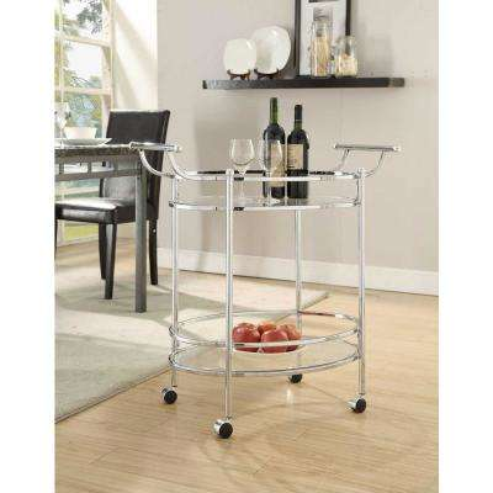 Reno Chrome Round Serving Cart