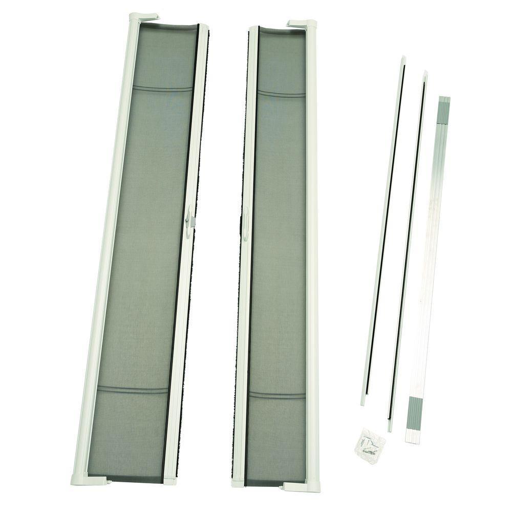 72 in. x 96 in. Brisa White Tall Double Screen Door Kit Retractable Screen Door