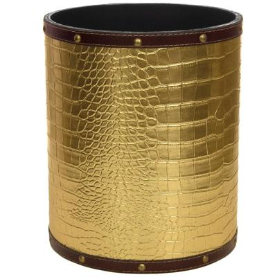 Oriental Furniture 8.25 in. x 10 in. Gold Faux Leather Waste Basket
