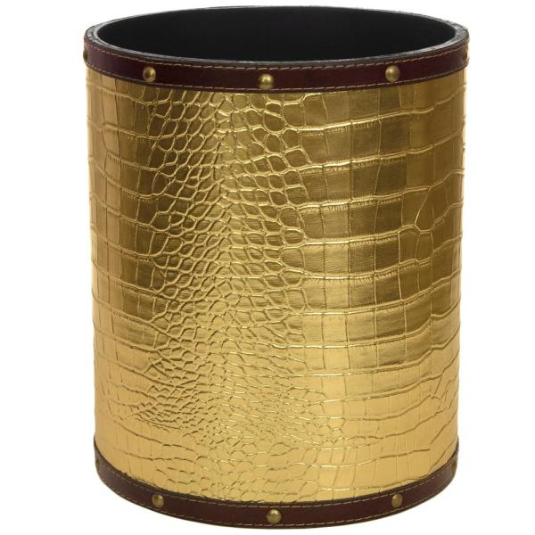Oriental Furniture Oriental Furniture 8.25 in. x 10 in. Gold Faux Leather Waste Basket