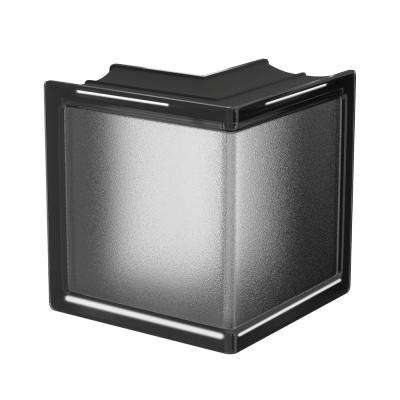 Licorice 5.75 in. x 5.75 in. x 3.15 in. Classic Black Corner Glass Block
