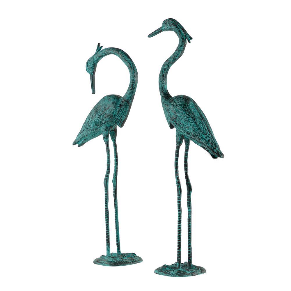 "Metal Crane Garden Statue, 2-Pcs Set, 10 X 47""And 10 X 52"", Green"
