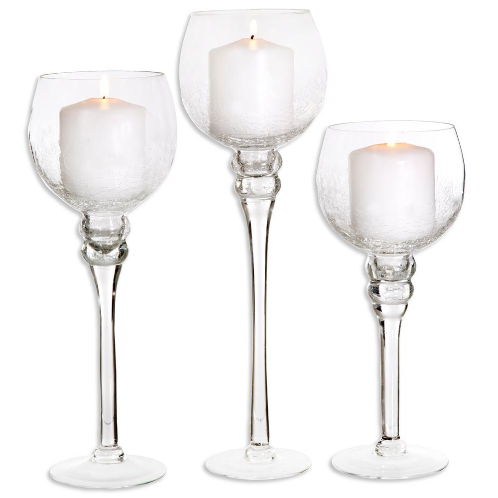 Home Essentials And Beyond Crackled Glass Footed Hurricanes Set Of 3 2167 The Home Depot