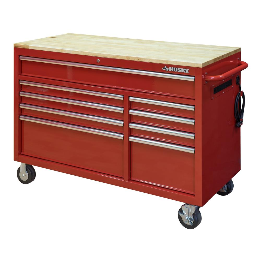 Husky 52 in. W 9-Drawer Deep Tool Chest Mobile Workbench in Gloss Red