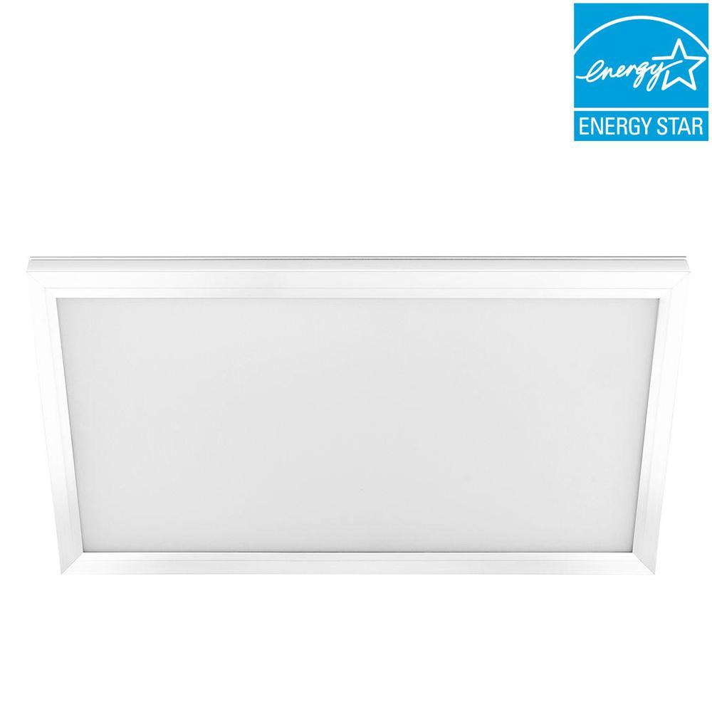 Commercial Electric 1 ft. x 2 ft. 23-Watt White Integrated LED Edge-Lit Flat Panel Flushmount