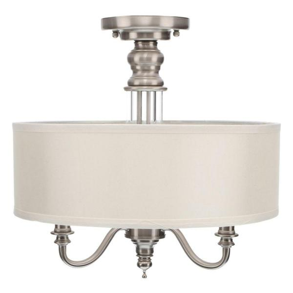 Hampton Bay Gala 15 In 3 Light Polished Nickel Semi Flush Mount With Ivory Fabric Shade 14698 The Home Depot
