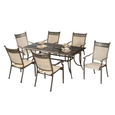 Modern Bronze 7-Piece Rectangular Aluminum Outdoor Patio Dining Set with Stackable Sling Chairs