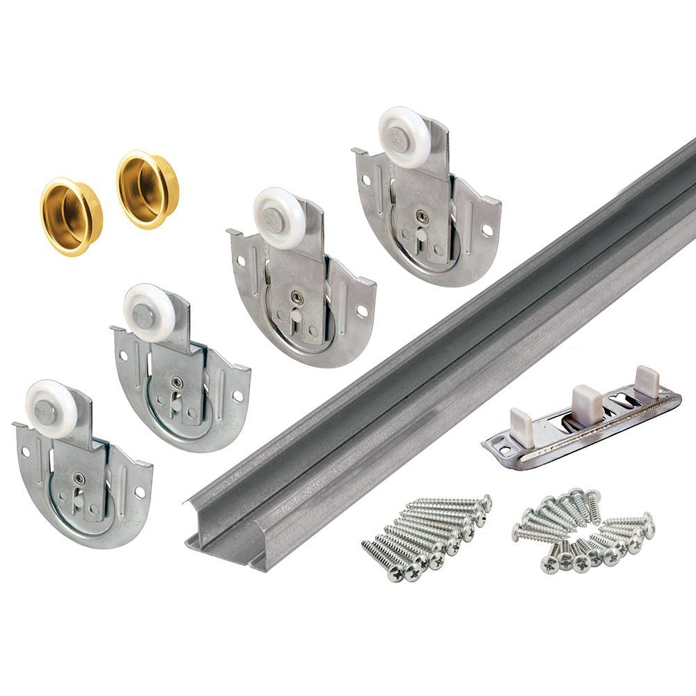 96in. Galvanized Steel Bypass Closet Door Track Kit